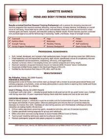 personal trainer resume exle personal trainer resume
