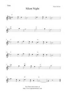 Silent night free christmas flute sheet music notes
