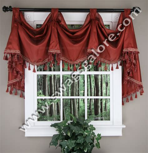 Burgundy Swag Curtains Serenity Faux Silk Victory Valance Chocolate Jabot