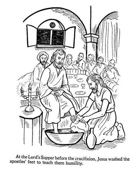 jesus washes the disciples feet coloring page coloring home