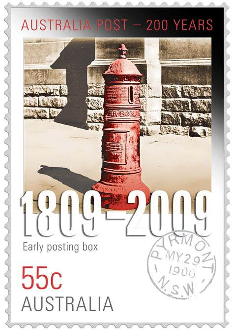 australia post new year 200 years of postal services early post box st coin