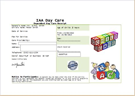 Daycare Receipt Template Word by Daycare Receipt Template At Receipts Templates