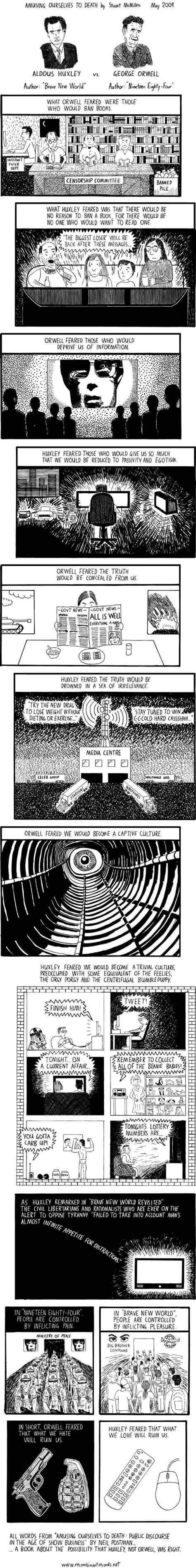themes of brave new world and 1984 brave new world vs 1984 comic strip e d u c a t i o n