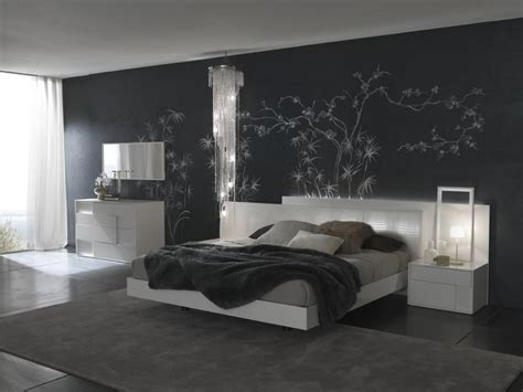 delightful bedroom interior design ideas with black wall paint color fnw