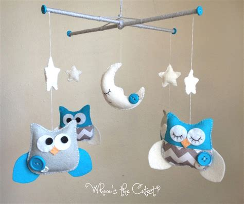 Baby Boy Crib Mobiles Baby Mobile Turquoise And Grey Chevron Owl Mobile For Baby Boy Or Customizable Mobile