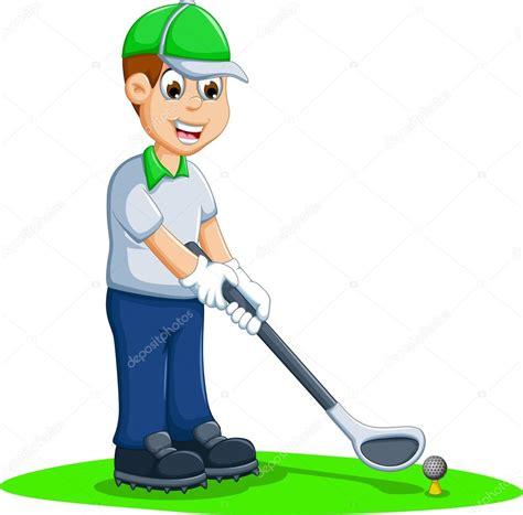 dibujos de niños jugando golf funny men cartoon playing golf stock vector