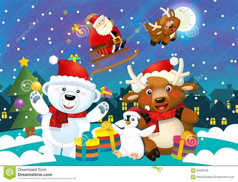 christmas animals animated illustration with santa claus and different animals stock illustration image