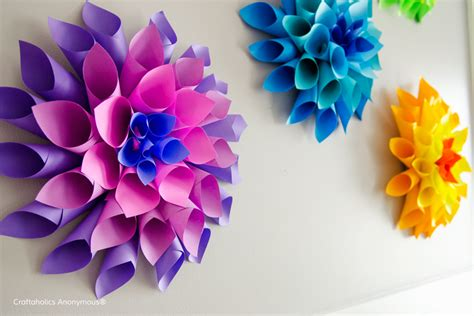 How To Make Paper Flower Decorations - how to make rainbow paper dahlia flowers