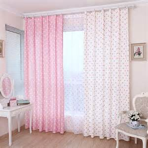 Pink Cotton Curtains Lovely Pink Cotton Fabric Curtain With Polka Dots Pattern