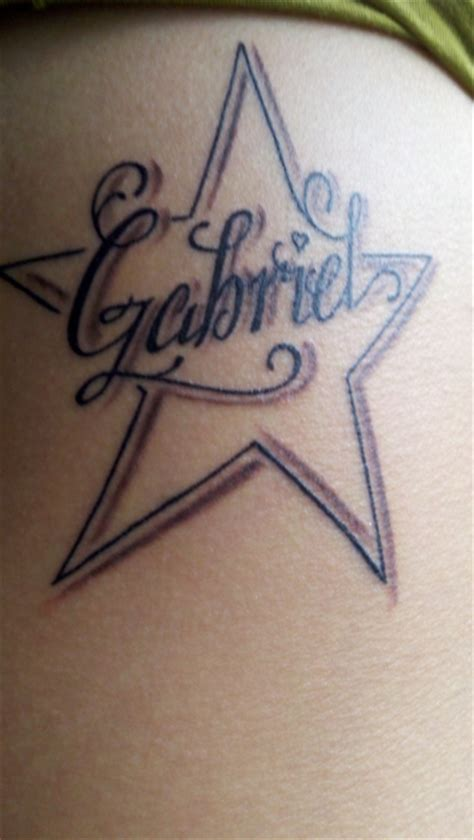 light star tattoo with name