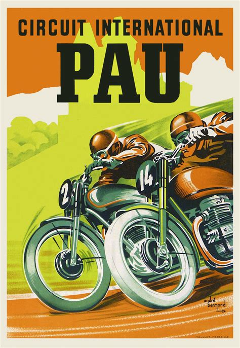 Triumph Motorrad Poster by Vintage French Motorcycle Poster 1950s Pau Retro Triumph
