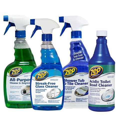 best products for cleaning bathroom zep bath cleaning kit 4 pack zubrkit the home depot