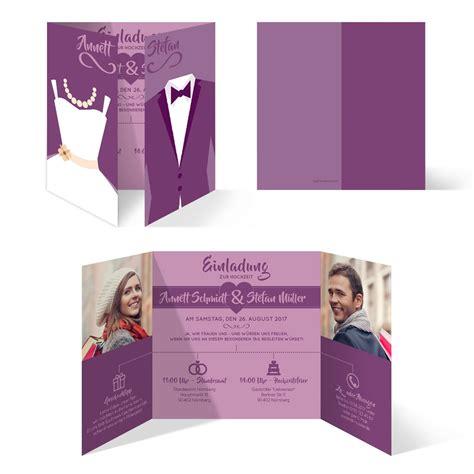 Hochzeitseinladungen Lila by Hochzeitseinladungen Braut Und Br 228 Utigam Altarfalz In Lila
