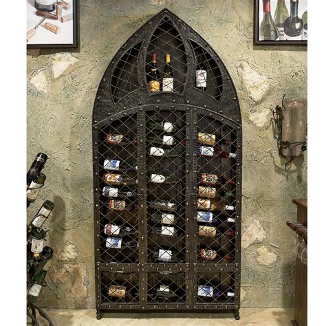 pictured here is the wrought iron wine rack 42 bottle