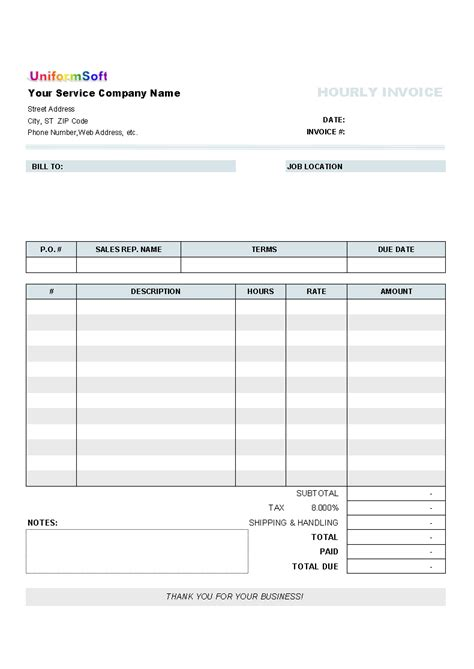 Hourly Invoice Form Uniform Invoice Software Form Of Invoice Template