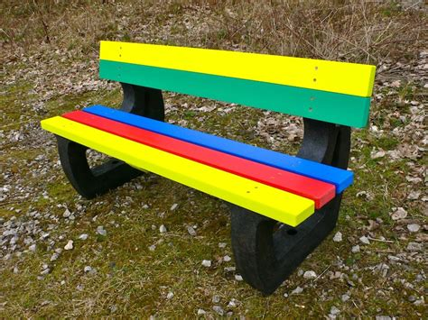 recycled plastic garden bench colne rainbow bench garden bench multicoloured recycled plastic education