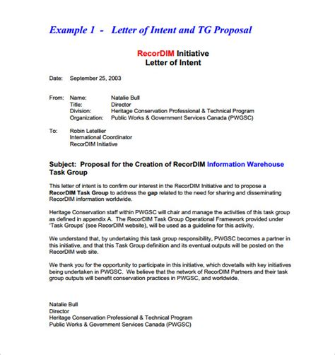 Exle Of Letter Of Intent For A 10 Business Letter Of Intent Templates Free Sle