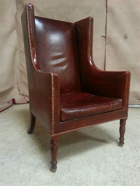 Chesterfield Wing Armchair by Antique Georgian Regency Leather Chesterfield Wing Back Armchair C1820 234394