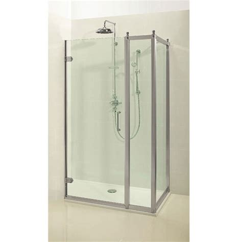 Hinged Shower Door With Side Panel by Burlington Traditional Hinged Shower Door With Inline Panel And Side Panel At Plumbing Uk