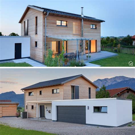 einfamilienhaus modern mit satteldach garage holz putz