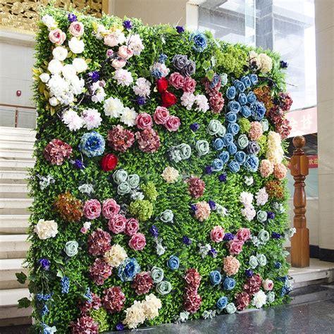 grass green  colorful wedding flower wall