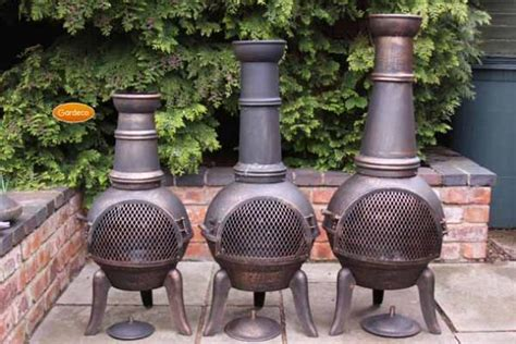 chiminea covered patio gardeco granada bronze cast iron large chiminea