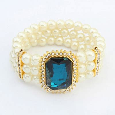 Gelang Korea Gemstone Multilayer Black plus size blue square gemstone decorated pearl multilayer