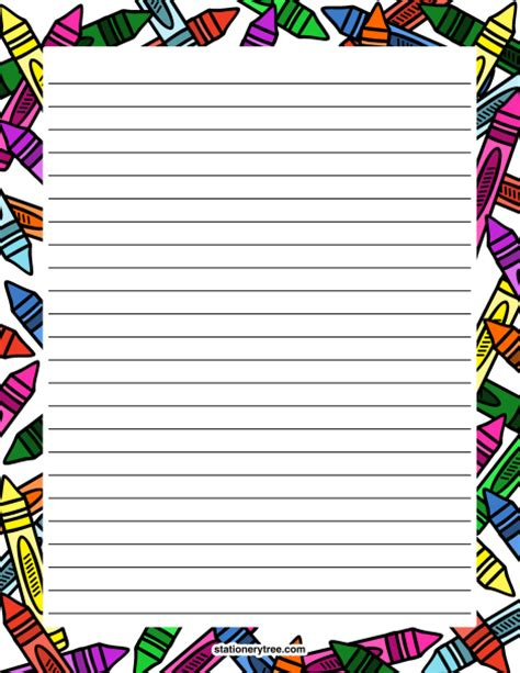 printable crayon stationery