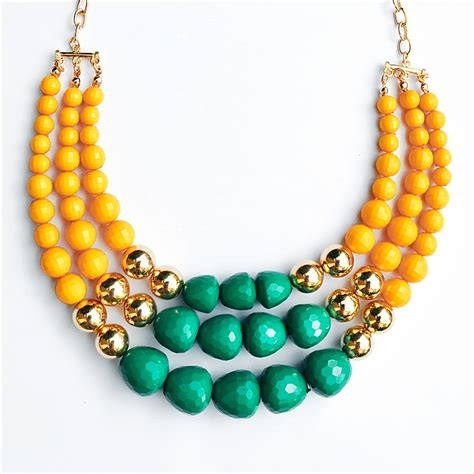bead necklace multi strand bead necklace chunky bib necklace in yellow