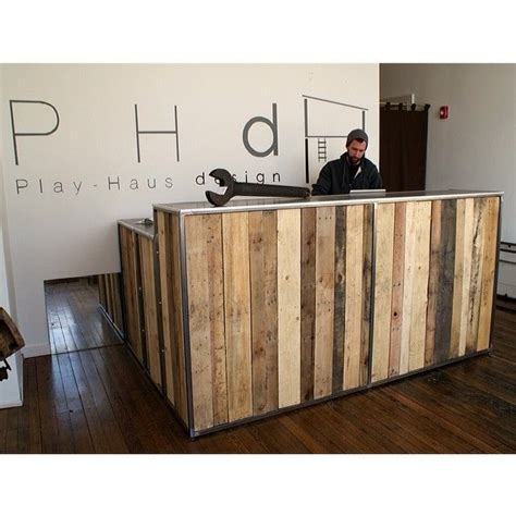 Timber Reception Desk Pallet Reception Desk Search Business Auto Shop New Office