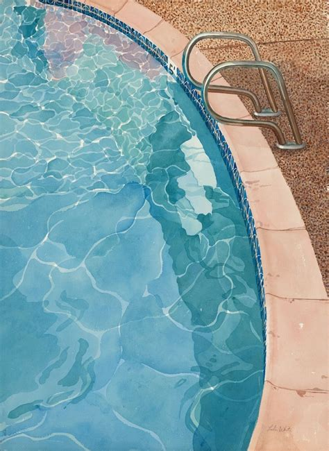 One Story Farmhouse Handmade Swimming Pool Watercolor Paintings By Trailhead