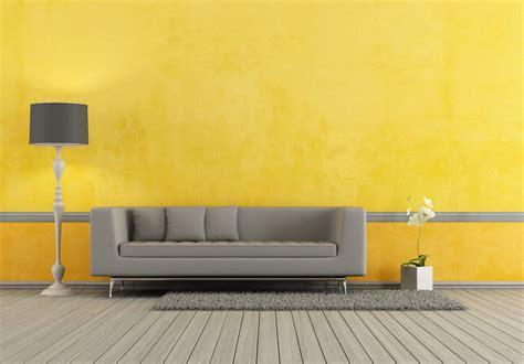 Yellow Walls And Gray Floor Interior Rendering Gray Wood Floor With Orange Wall
