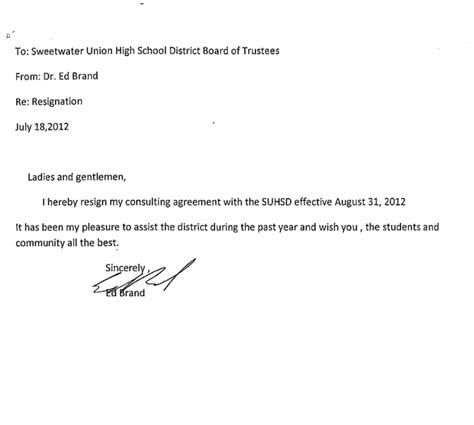 Letter For Cancellation Of E Sugam Sweetwater Interim Superintendent Ed Brand Resigns San Diego Reader