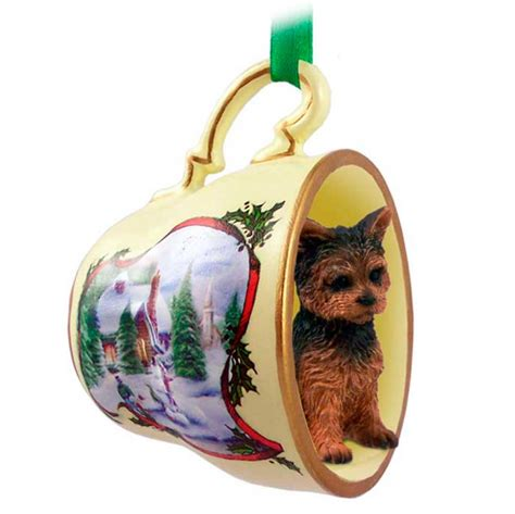 yorkie christmas holiday teacup snowman ornament figurine
