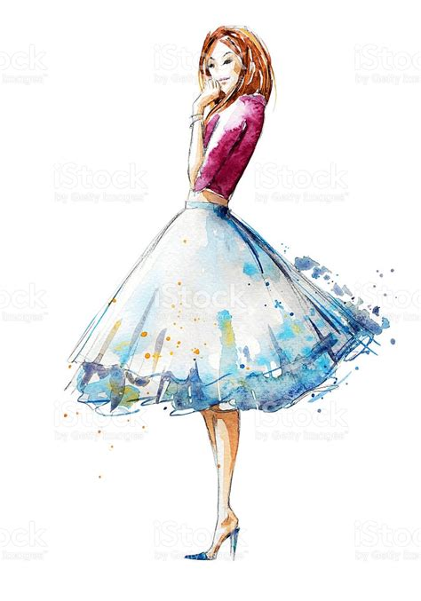 fashion illustration uses watercolor fashion illustration painted stock vector
