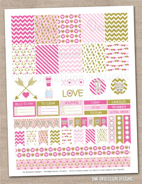 free printable valentines planner stickers ink obsession designs new valentines day printable
