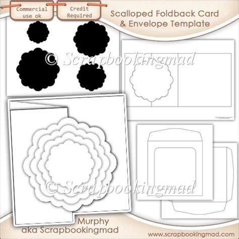 6x6 Card Pack Cards Template by 6x6 Scalloped Foldback Card Kit Templates Commercial Use
