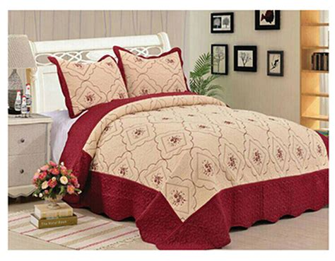 Hypoallergenic Quilt by 3 Quilt Set Embroidered Hypoallergenic Quilted