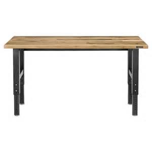 workshop bench height gladiator adjustable height 6 maple workbench 249 96