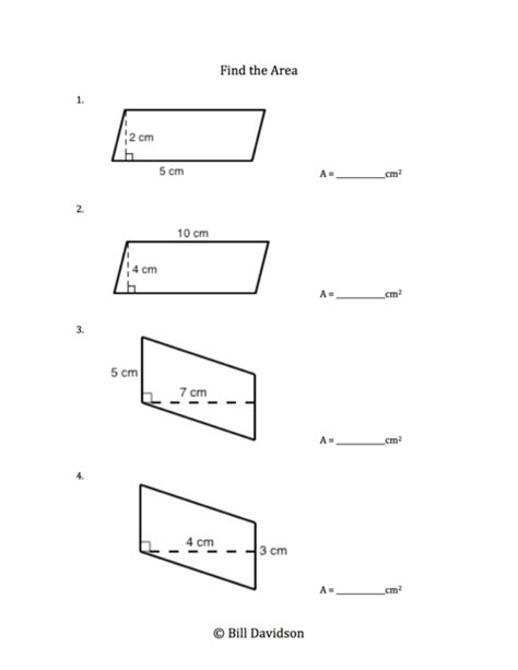 free printable area of parallelogram worksheets area of parallelograms worksheet worksheets releaseboard