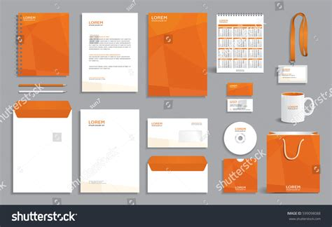 corporate identity design template orange polygonal 스톡 벡터