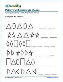 free preschool amp kindergarten pattern worksheets
