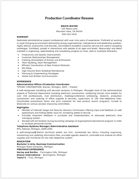 Production Planner Resume by Production Coordinator Resume Resume