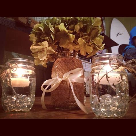 DIY hydrangea, burlap, and twine wedding centerpieces
