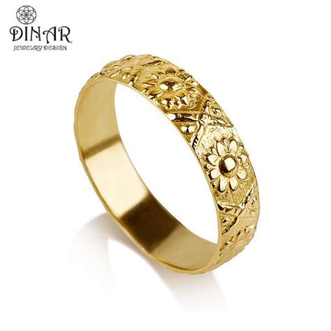 14k gold flower wedding band ring sunflower by dinarjewelry