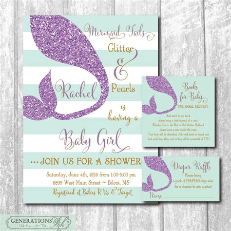 Mermaid Baby Shower Invites by Mermaid Baby Shower Invitation With Matching Raffle