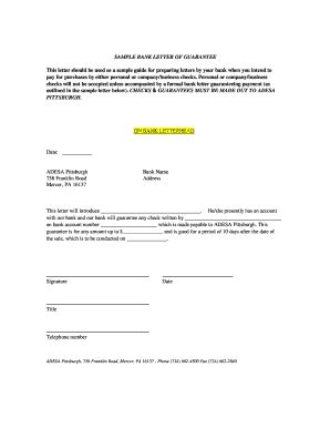 Insurance Letter Of Guarantee Sle Of Bank Guarantee Forms And Templates Fillable Printable Sles For Pdf Word