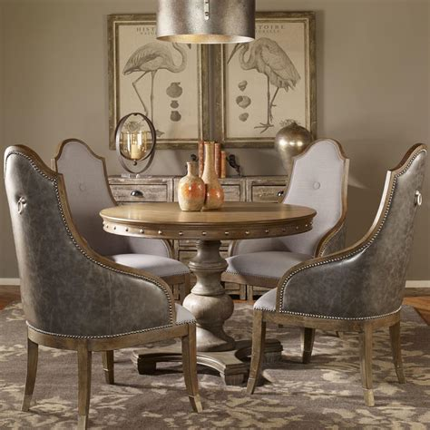 marius french country  wood silver stud dining table