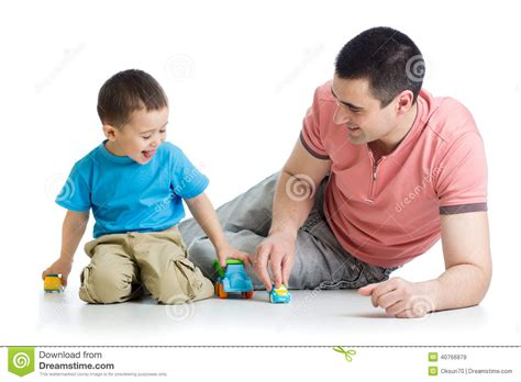 kid play car father and kid play with car toys together stock photo