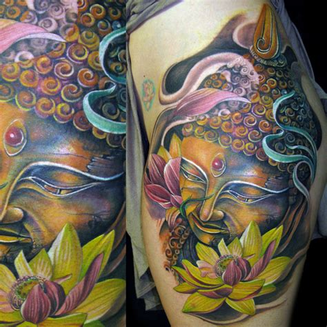 new school buddha tattoo buddha lotus flower color tattoo mancia stygian gallery